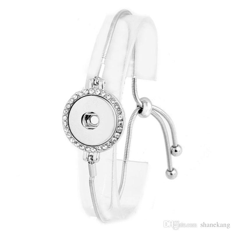 Düğme Takı Yaz Stili 18mm Snap Düğme BraceletBangles Gümüş Kaplama Düğün Yılan Zinciri Bilezikler İçin Kadınlar
