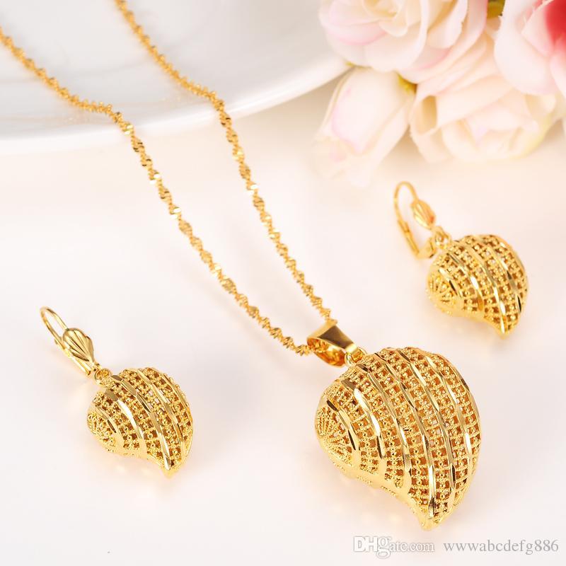 Set di gioielli con ciondolo a cuore Set di orecchini classici per collane 24k in oro giallo massiccio con diamanti GF Arab Africa Dowry da sposa