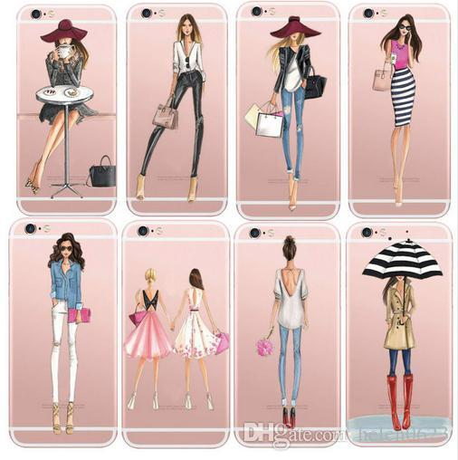 Cases For iPhone 6 6s Plus 6Plus Fashionable Dress Shopping Modern Girls Painted TPU Clear For iPhone 7 7 8 plus X Soft Silicon Phone Cover