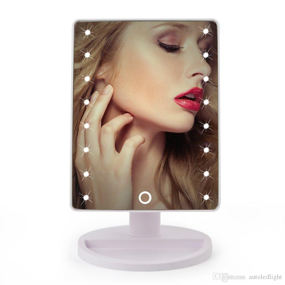 led Mirror Light LED Make Up Mirror 360 Degree Rotation Touch Screen Cosmetic Mirror Folding Portable Compact Pocket With 16/22 LED Lights
