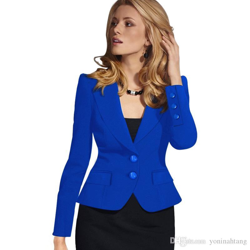 Toptan ücretsiz kargo İnce Bayan Bahar Kış Uzun Kollu Turn Down Yaka Düğme Blazer İki Düğme Lady Blazer Ceket Fema çalışmak Giymek