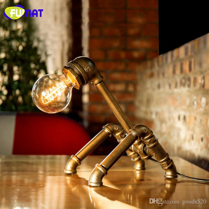 FUMAT Loft Industrial Water Pipe Desk Lamp Vintage Bedside Table Lamps For Living Room Bedroom Home Decor Desk Lamp Luminaria
