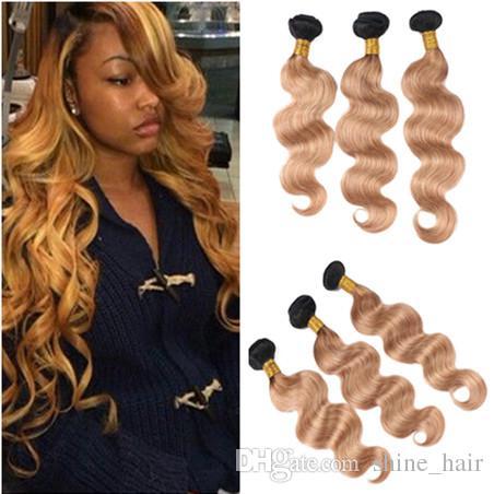 Dark Roots Honey Blonde Human Hair Bundles Body Wave Virgin Brazilian 1b 27 Strawberry Blonde Ombre Human Hair Weaves Extensions Deep Wave Human Hair