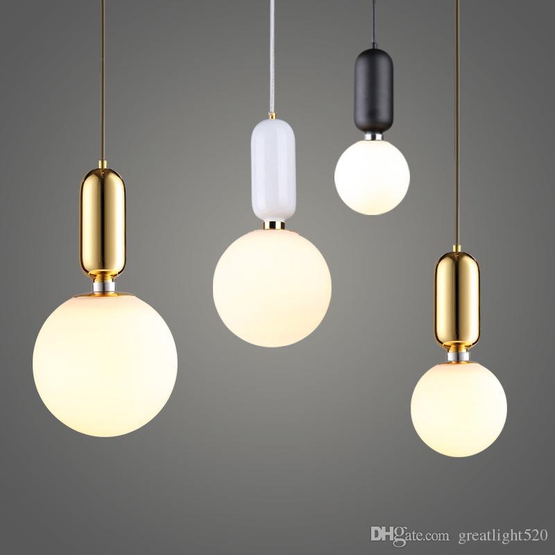 Bola de vidro Nordic Estilo Pendant Light Single-cabeça de vidro Lustre bola lâmpada do teto de fixação Diâmetro 15cm / 20cm / 25 centímetros