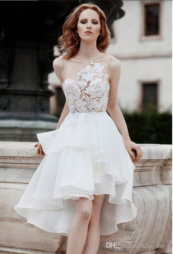 Newest Design Sheer Short Wedding Dresses Summer Style Applique Backless High Low Ruffled Organza Lace Bridal Gowns Vestido De Noiva W873