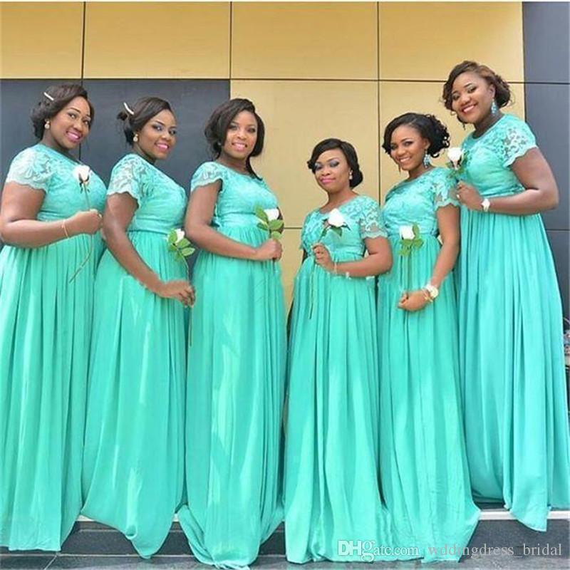Mint Green Plus Size Długie Sukienki Druhna 2019 South Afryki Dubaj Sheer Crew Neck Koronki Szyfonowa Honor Suknie Tanie Dresses
