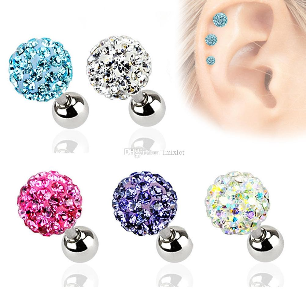 2019 =3mm/4mm/5mm Crystal Ball Ear Nail Bone Barbell Stud Earrings Helix  Tragus Ear Cartilage Piercing Body Jewelry Free From Inoecom, &Price