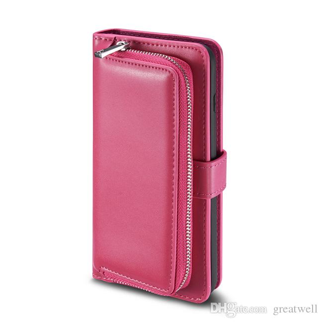 Luxury Multifunction Wallet PU Leather Zipper Purse Pouch Phone case for iphone 11 Pro Max XS Max XR 8 7 6S Plus S8 S9 S10 Plus Note 10 Pro