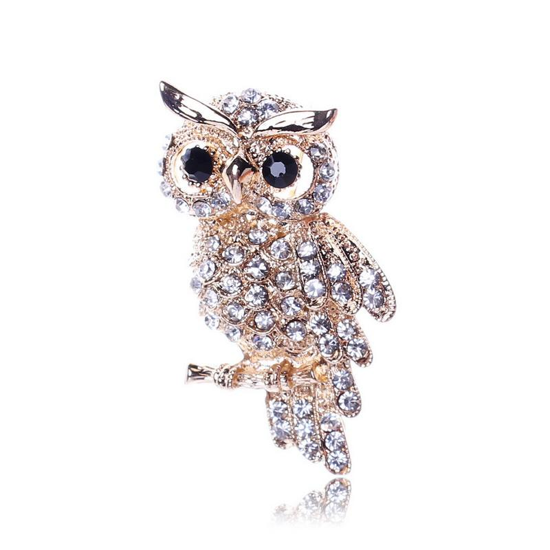Fashion Gold Color Owl Style Shiny Crystal Inlay Lady Jewelry Rhinestone Brooches For Weddings