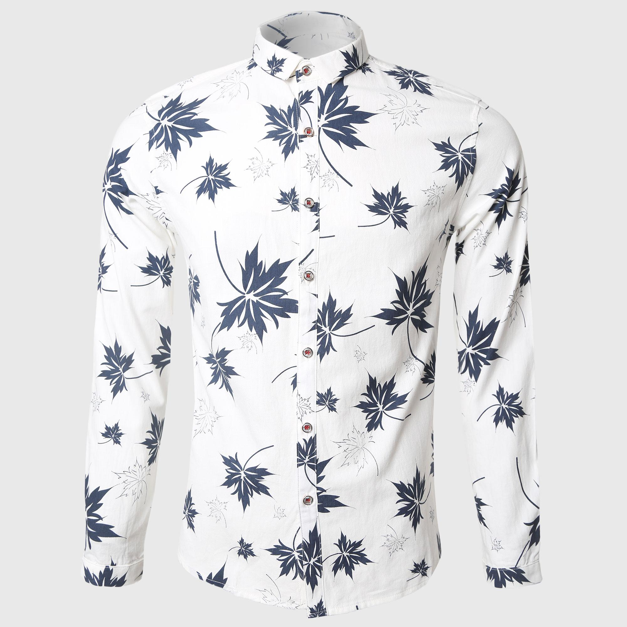 save up to 60% durable service best supplier 2019 Wholesale Leaves Printed Long Sleeve Shirt Men White Casual Shirts  Cotton Turn Down Collar Hawaiian Freedom Style From Keviny, $31.05 | ...