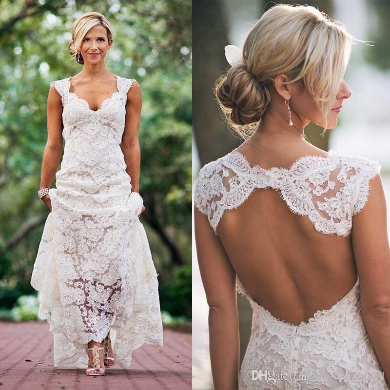 Cheap Beach Wedding Dresses Sweetheart Cap Sleeves Floor Length Open Back Wedding Gown Full Lace Bridal Dresses Sweep Train Canada 2019 From