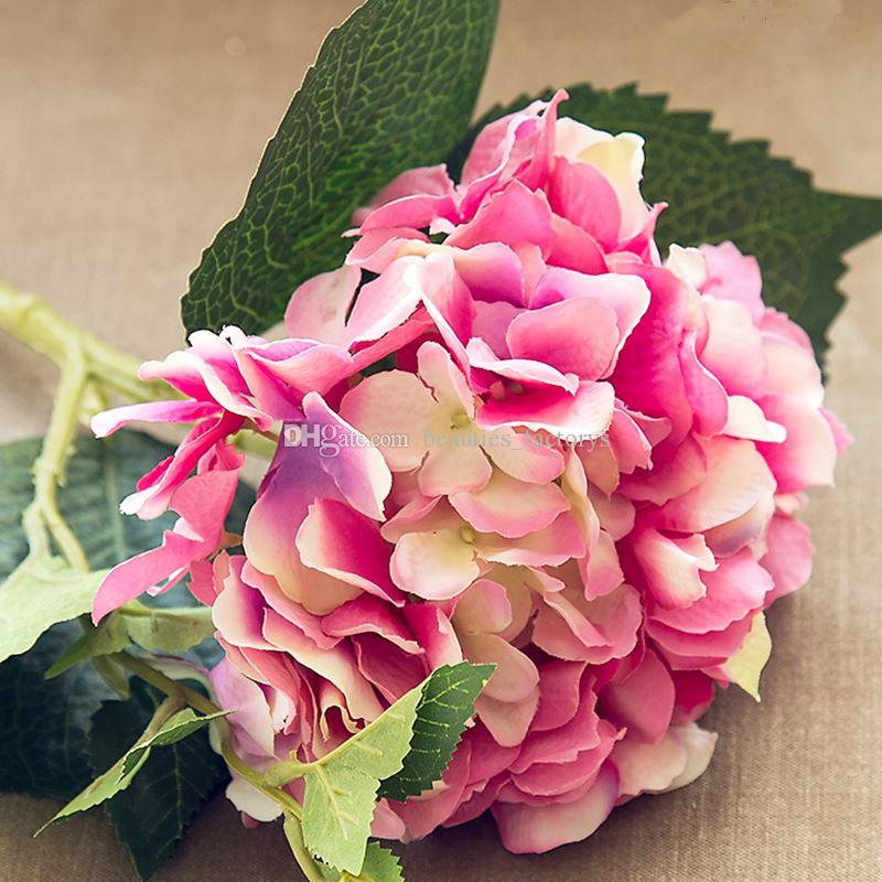 2 Pcs Artificielle Hortensia Fleur En Soie 18 cm Hortensia Fleur Maison Jardin Décor Partie Faux Fleurs Décorations De Mariage
