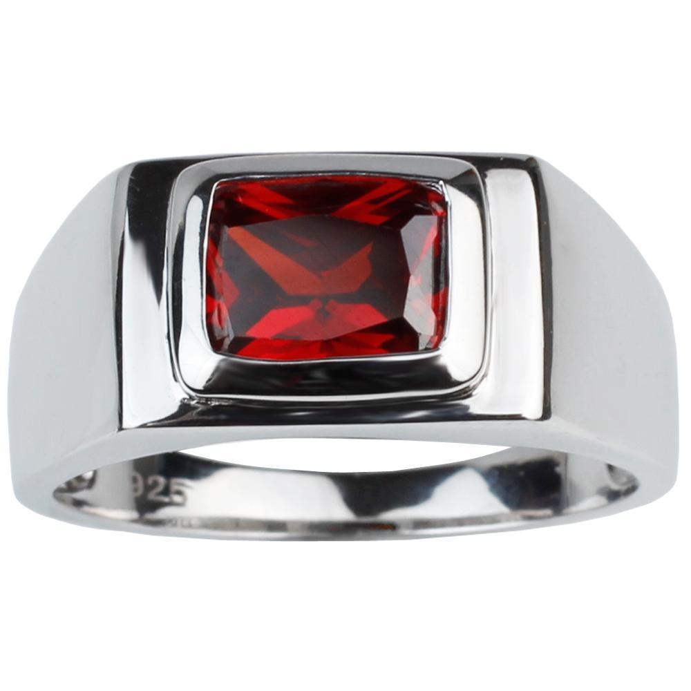 Anello in argento massiccio 925 gioielli uomo 7x9mm rosso granato zirconi regalo festa del papà solitario design R509RG