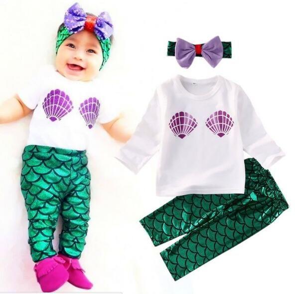 Девочка комплект одежды 3 шт. Русалочка Ариэль дети девушка одежда Детская одежда косплей Хэллоуин костюм бесплатная доставка