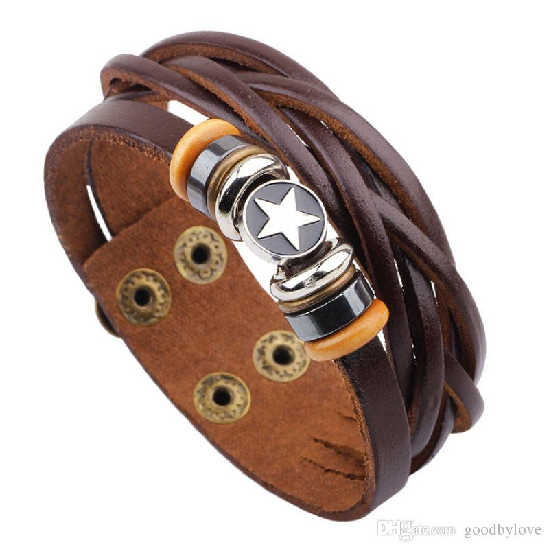 Unisex Herrenschmuck Punk reale echtes Leder-Brown Multi Layer Adjustable Armband Pentacle Charm-Armband-Armbänder für Partei