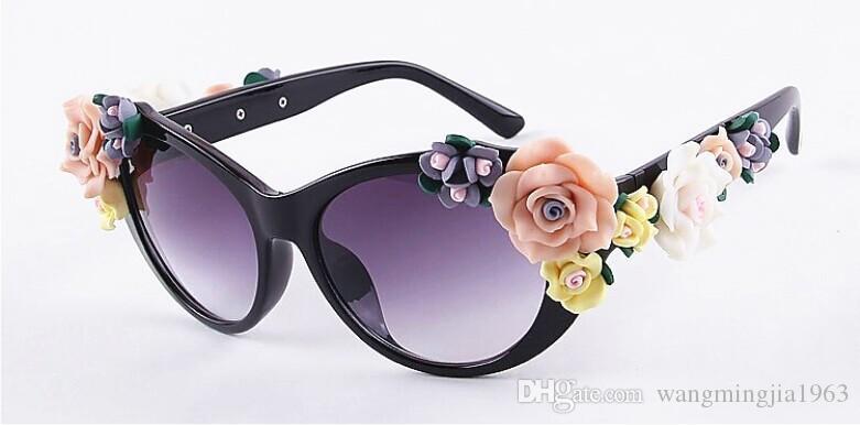 2017 einzigartiges Design CAT AUGE Blume Sonnenbrille Frauen Marke mode gläser weiblichen sommer Strand oval rosen brillen oculos de sol