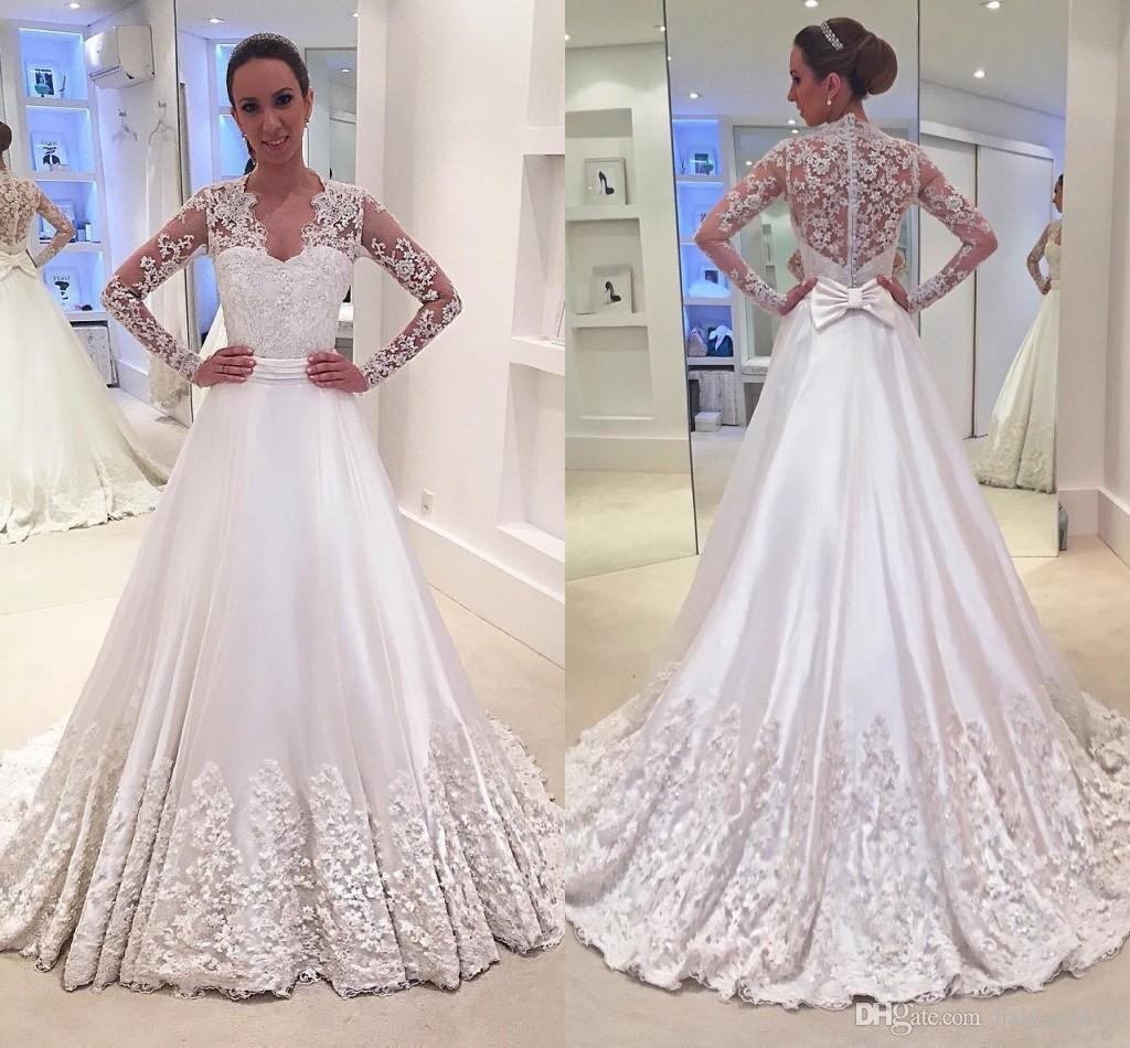 2017 yeni vestidos line gelinlik v boyun illusion uzun kollu dantel 3d çiçek boncuklu gelinlikler artı boyutu resmi gelin dress