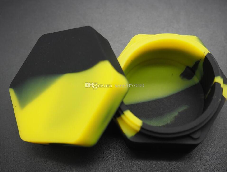 100 pz / lotto unico esagono in silicone contenitore antiaderente vaso di silicone per cera bho olio vaporizzatore silicio vasetti Dab contenitore di cera e sigaretta