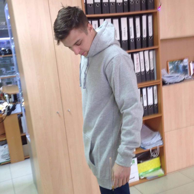 Etek için Toptan-Erkek polar Hoodies Sweatshirt yan fermuar erkek hoodies uzun eşofman erkek longline hoodie tasarım; sweatshirt