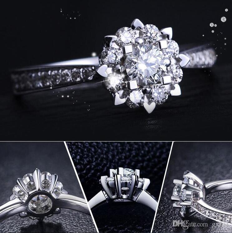 أعلى جودة رومانسية سنو زهرة تشيكوسلوفاكيا الماس خواتم الزفاف للنساء 925 الصلبة خاتم فضة مجوهرات الزفاف الاشتباك