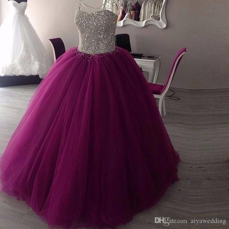 Sparkly Sweetheart Perlen Ballkleid Abendkleider 2019 Real Picture Tüll bodenlangen ärmellose Puffy Long Prom Abendkleid
