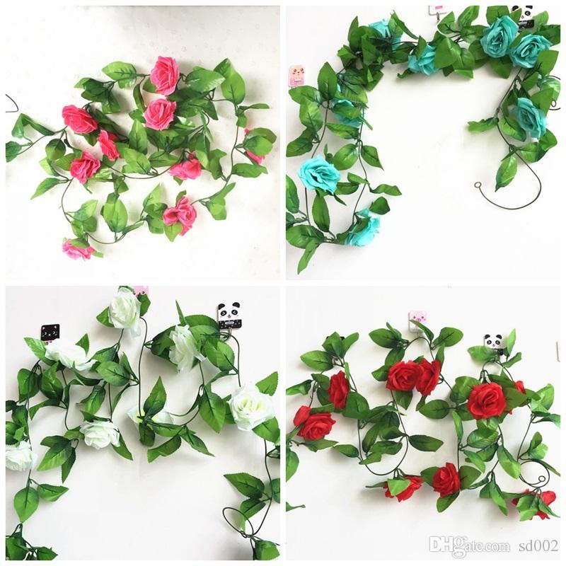 2019 Home Decor Artificial Flowers Leaves 2.45M Fake Simulation Rose Flower  Vines With Green For Wedding Decorations Multi Color 3 5ql C RW From