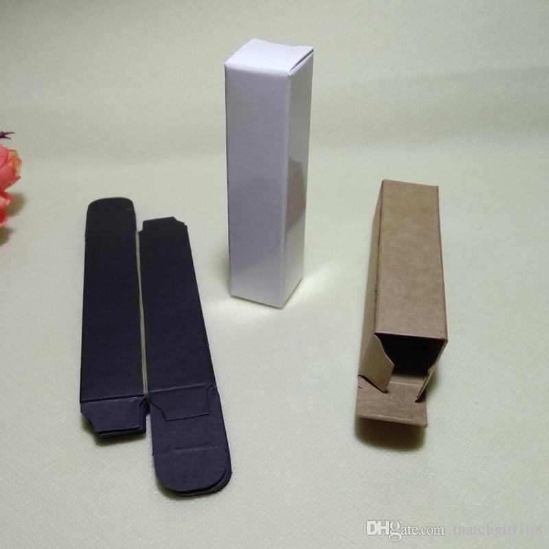100pcs- 2 * 2 * 10cm nero bianco Kraft scatola di carta per rossetto olio essenziale spray di profumo scatola di favore del partito