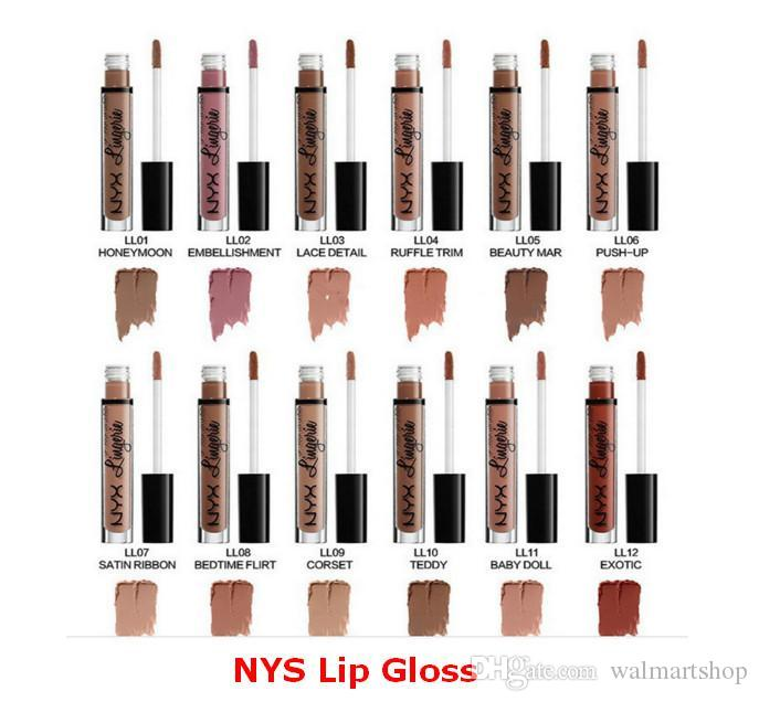 NYX Lip Gloss Liquide Lipstick Lingerie Matte Lip Gloss Liquid Matte Lipstick 12 Colors Good for Makeup bea151 DHL