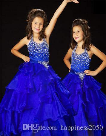 Dulce Royal Blue Halter Granos de organza Vestidos de niña de las flores Vestidos del desfile de la princesa Vestidos de fiesta de la muchacha Tamaño por encargo 2-14 HF419002