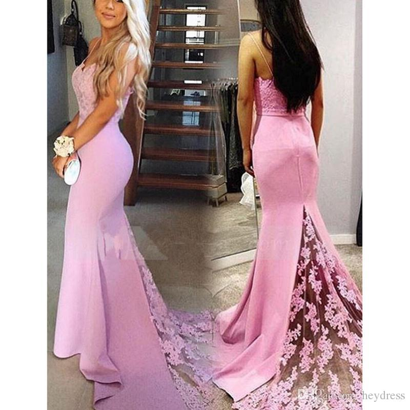 Pink Mermaid Evening Dresses Long 2017 Fashion Spaghetti Straps Long ...