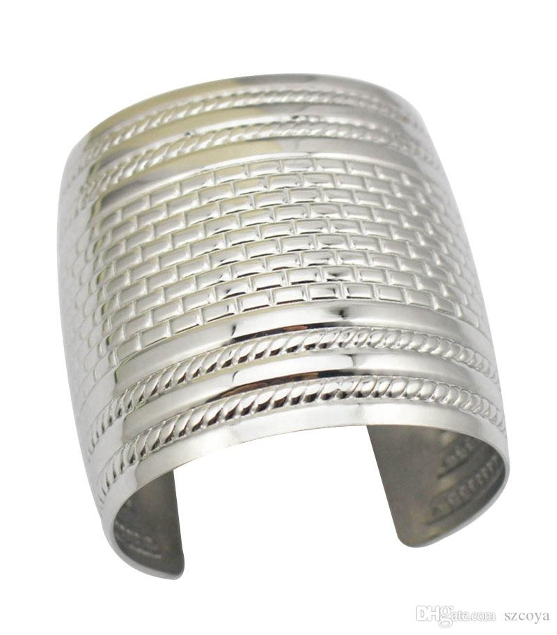 Fashion Women and Girls Jewelry Stainless Steel Hollow Wrist Cuff