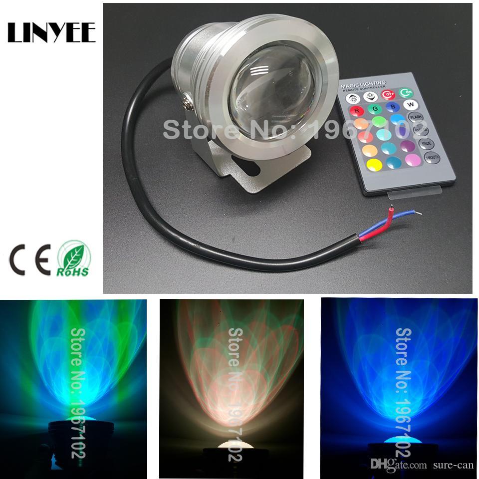 10W haute qualité 12V RGB LED Lumière sous-marine Projecteur CE / RoHS IP68 950lm 16 couleurs changeantes avec télécommande pour Fontaine Piscine Décoration