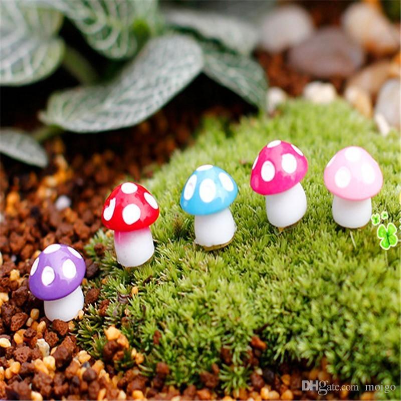 24 Pz / lotto Fairy Garden Miniature Mini Fungo Ornamenti Da Giardino In Resina Artigianale In Miniatura Fata Figurine Manualidades