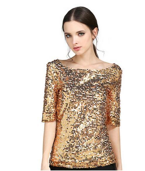 Mulheres Lantejoulas T-shirt novas senhoras Topos de Culturas fio de raiz de bordado plus size Camiseta Casual barra pescoço Club Party tShirt S-5XL