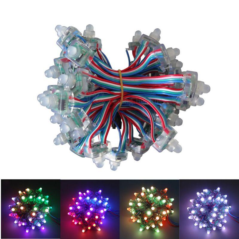 Edison2011 50pcs/lot DC5V 12V WS2811 RGB Full Color Square Diffused Digital LED Pixel Module String IP68 Waterproof Individually Addressable