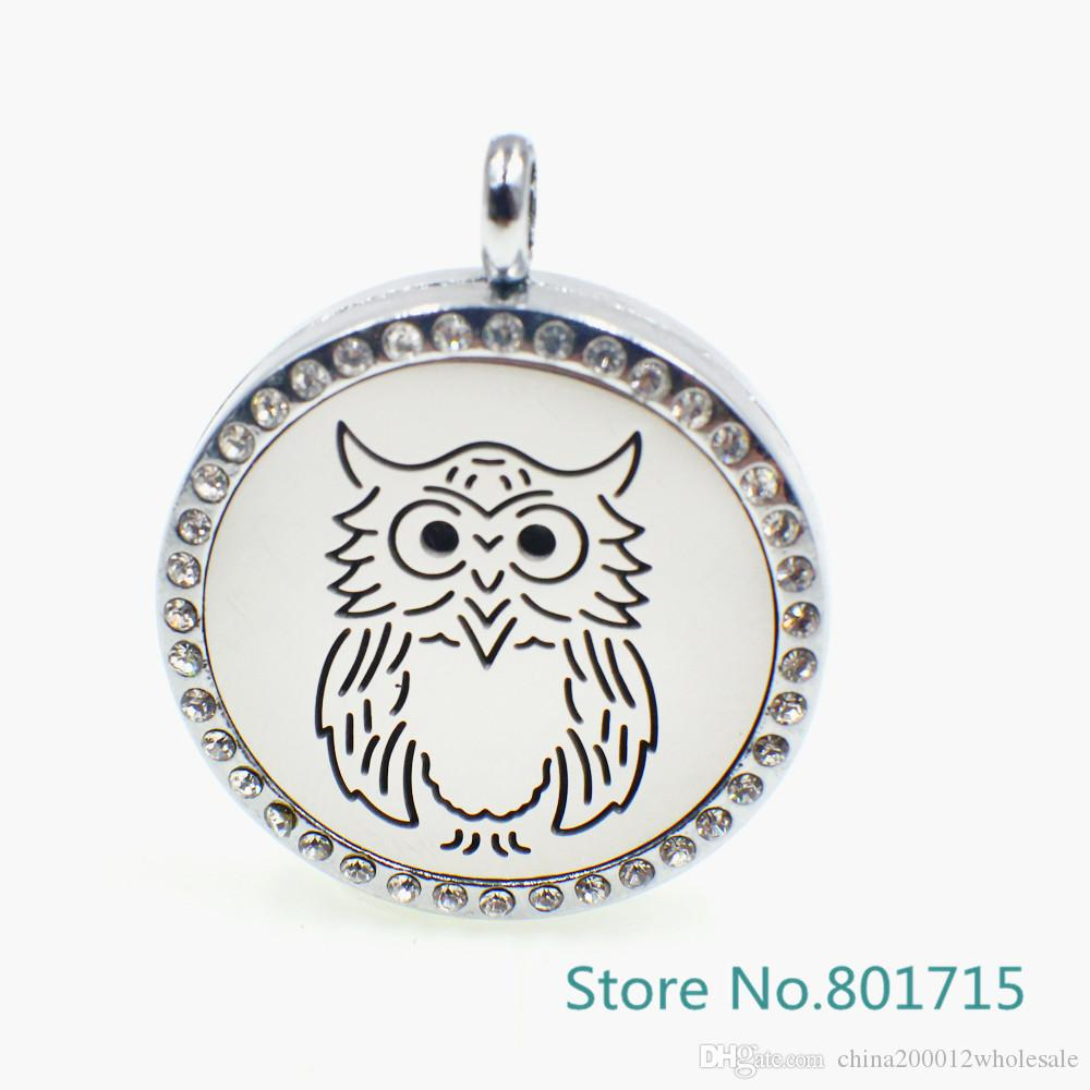 """XX030 magnetic stainless steel """"Owl"""" essential oil diffusing necklace aromatherapy locket (Felt Pads & Chain freely)"""