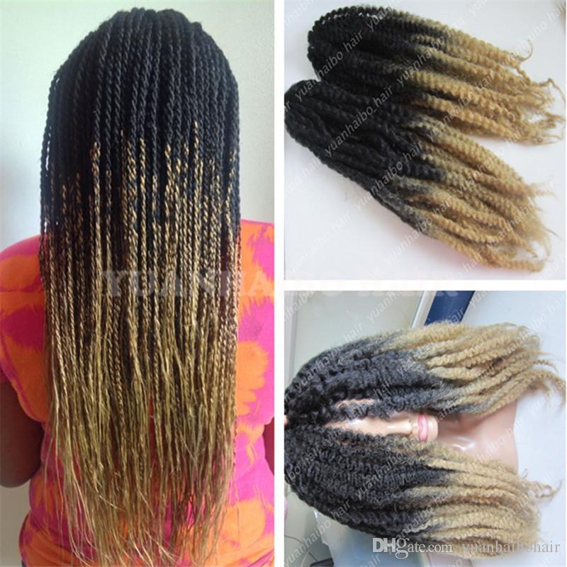 Meia 20in vezes 1bT27 kinky torção marley tranças de fibra ombre cor trança sintética cabelo frete grátis