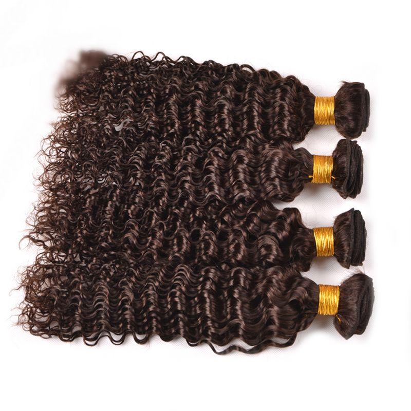 ダークブラウンブラジルの聖母の人間の毛の純色#4深い波の人間の髪4バンドルチョコレート茶色の深い巻き毛延ばす4pcs /ロット