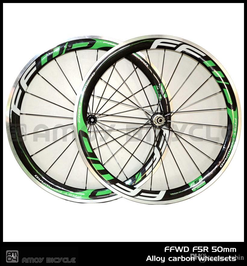 الجديد! 700C FF-WD الأخضر الطلاء 50MM الفاصلة حافة الطريق دراجة 3K العجلات دراجة الكربون مع عجلات الكربون سطح الفرامل الفرامل
