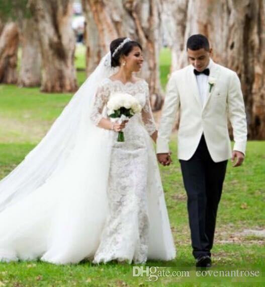 Sirena modesta 2019 Vestidos de novia con tren desmontable Completo Encaje Manga larga Vetidos De Novia Más tamaño Vestidos de novia baratos