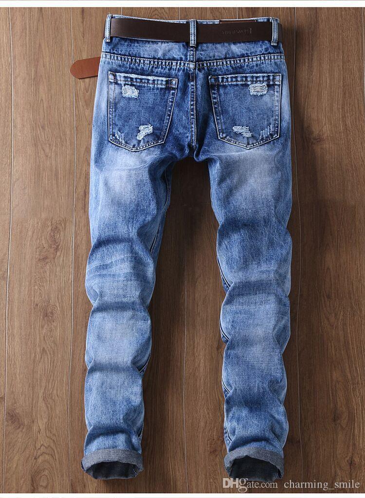 Adescare ostello Sud America  Acquista Jeans Strappati Con Toppe Strappate Gli Uomini Designer Di Moda  Jeans Da Uomo Slim Moto Biker Da Moto Vintage Mens Jeans Da Uomo Hip Hop  Jeans A 34,6 € Dal Charming_smile