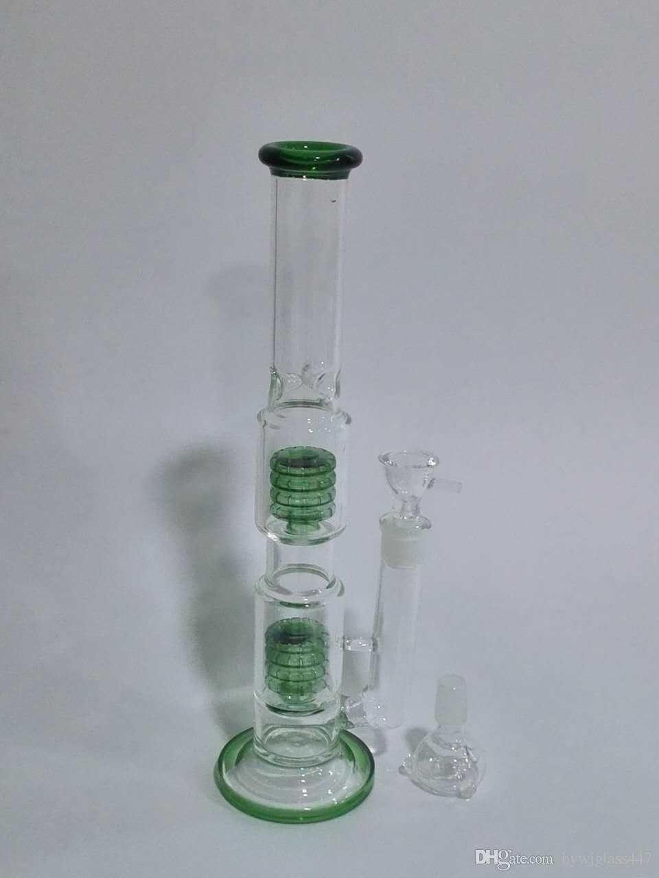Narguilé double cage verte, tuyau en verre h: taille de joint de 18cm de 18cm