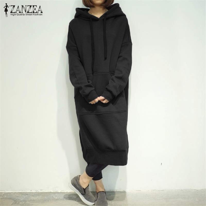 Las mujeres más el tamaño de las sudaderas con capucha del resorte ocasional del otoño camiseta de manga larga floja completa de Split Fleece con capucha vestido Vestidos
