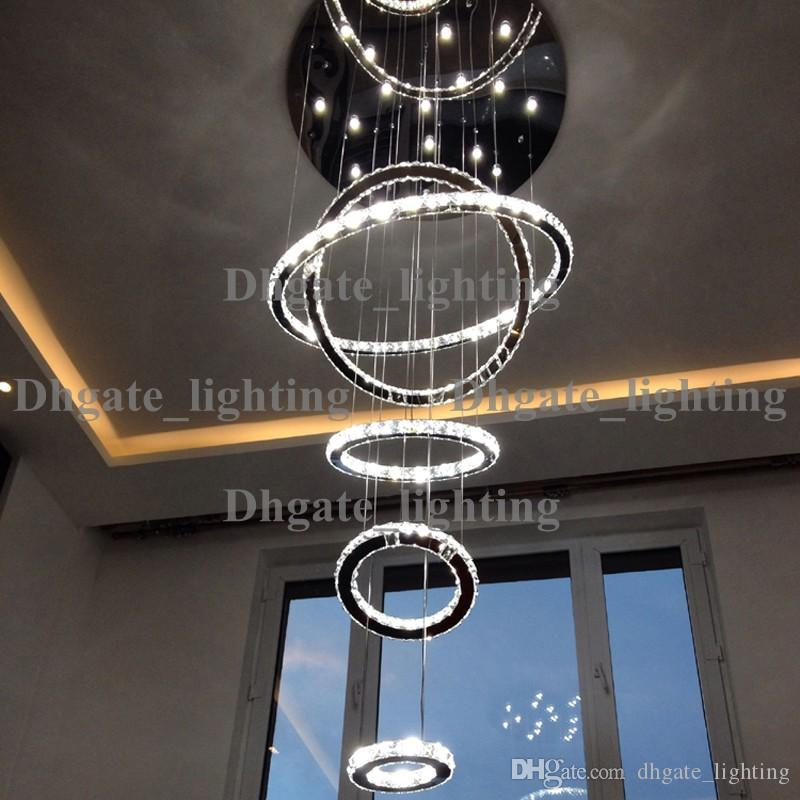 5 Circle Ring Modern High Quality Penthouse Floor Living Room Led Chandeliers Creative Villa Long Circular