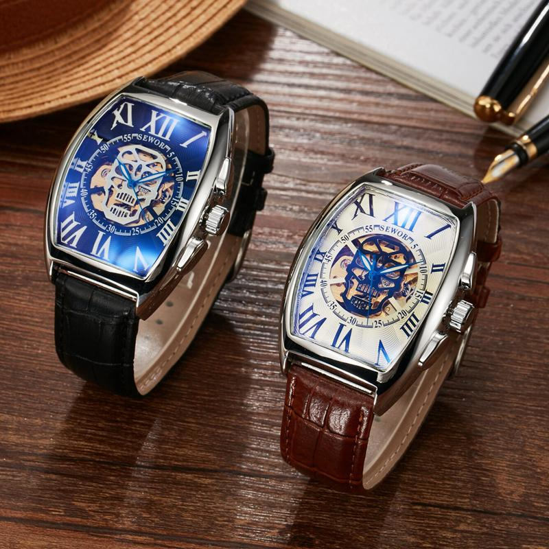 SEWOR Brand Watch Automatico Leather Wristwatches Self-Wind Mechanical Men Watch Skeleton Automatic Luxury Man Watches S55