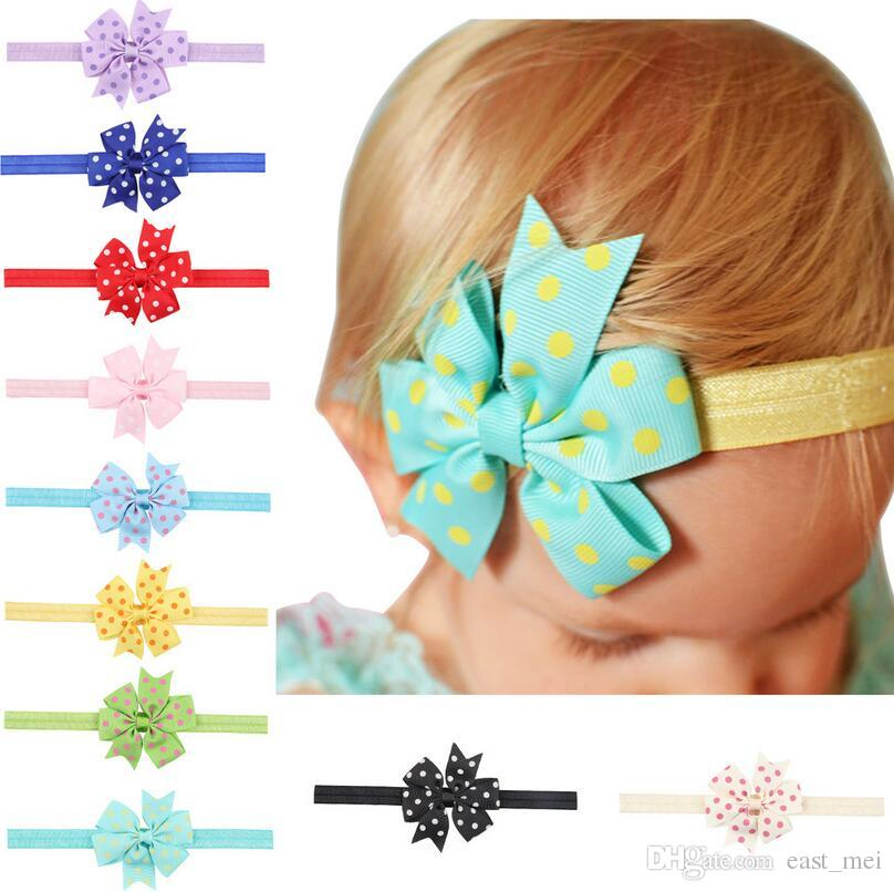 Hot sale Children wave point swallowtail bow knot with baby elastic headband baby hair ornaments TG087 mix order 30 pieces a lot