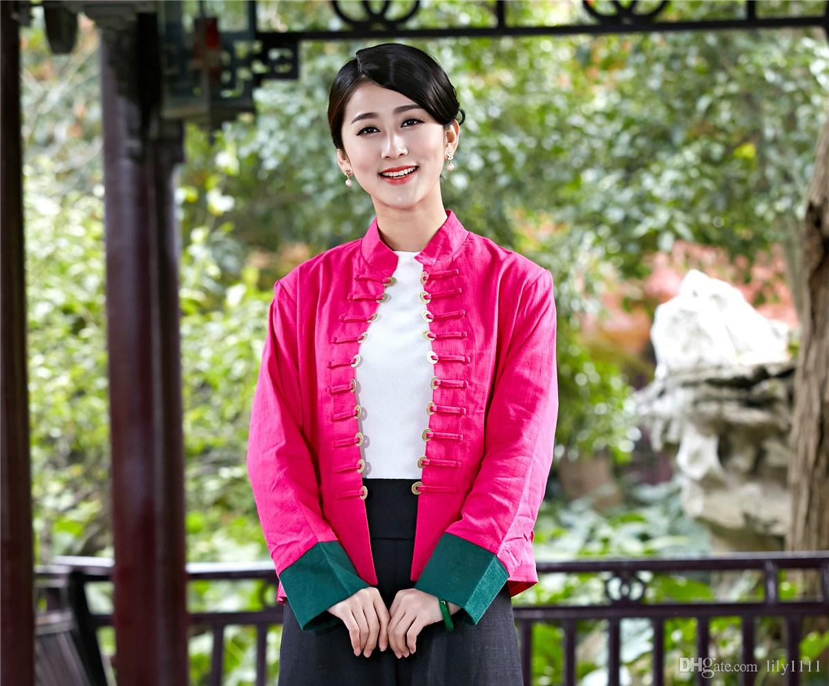 Shanghai Story Coin Button Chinese Traditional Clothing Long Sleeve Pink Cardigan for Woman Blend Linen Ladies Tops