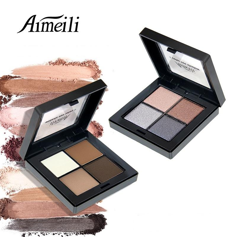 Wholesale- AIMEILI 4 Color Eye shadow Cosmetics Mineral Make Up Makeup Eye Shadow Palette Eyeshadow Set for Women 9 Style Color ES003
