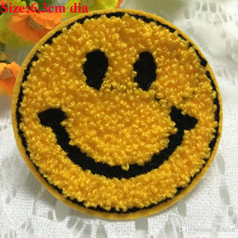 Emoji smiley face embroidery patch lace applique motif dance costume decor