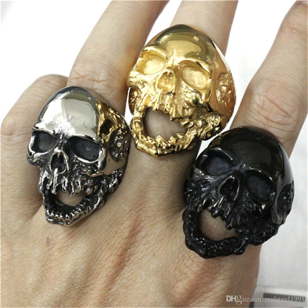 Anillo del cráneo del motorista Diseño Personal 1pc Nuevo 5 colores enorme fantasma del anillo del cráneo 316L de acero inoxidable hombre Boy de la moda